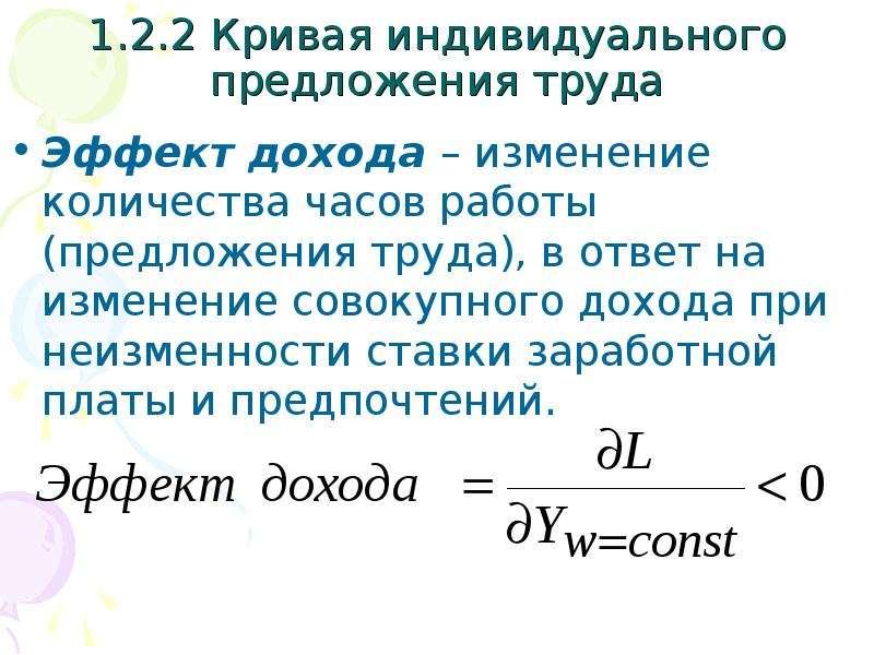 1. 2. 2 Кривая индивидуального предложения труда