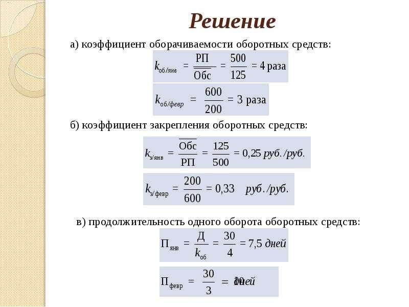 Решение а) коэффициент оборачиваемости оборотных средств: