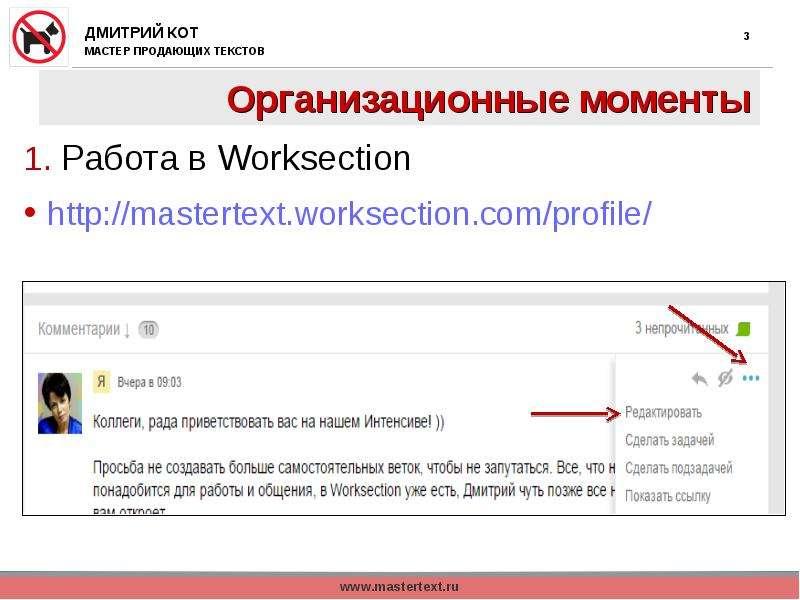 Организационные моменты 1. Работа в Worksection
