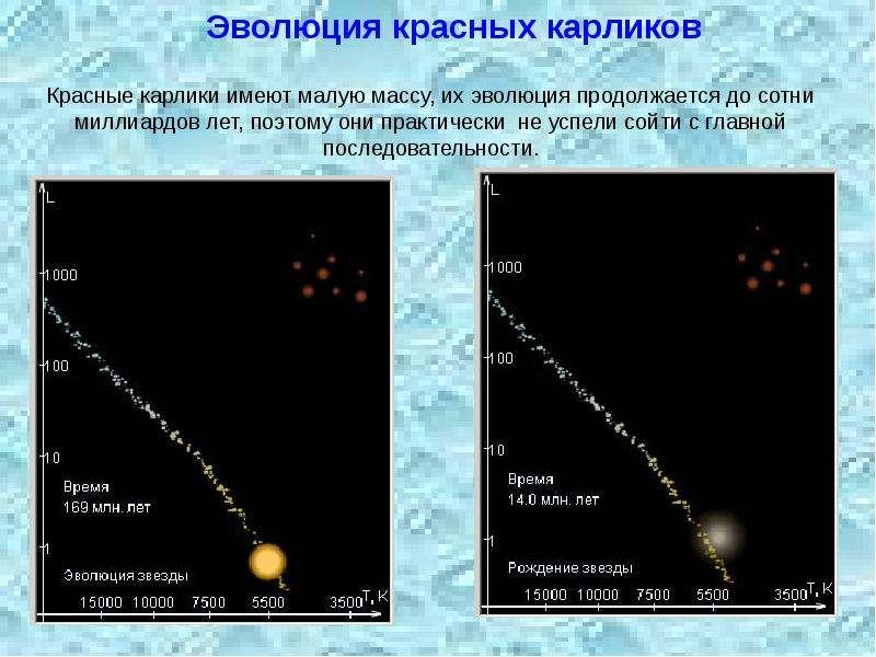 Красные карлики имеют малую массу, их эволюция продолжается до сотни миллиардов лет, поэтому они пра