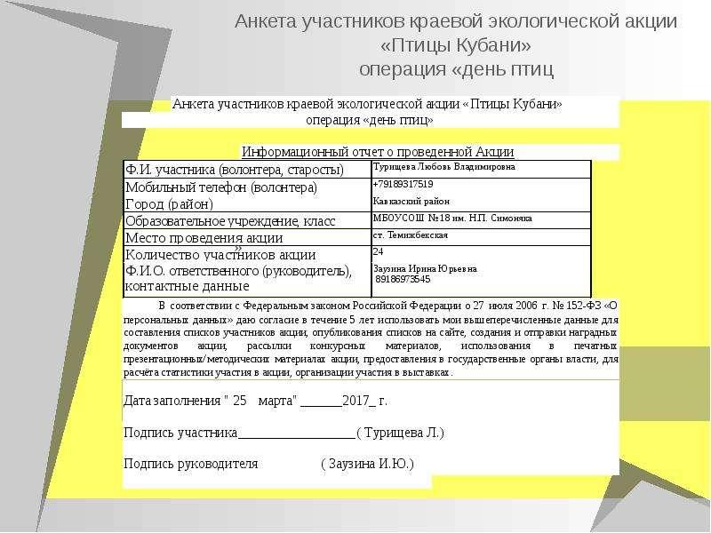 Анкета участников краевой экологической акции «Птицы Кубани» операция «день птиц