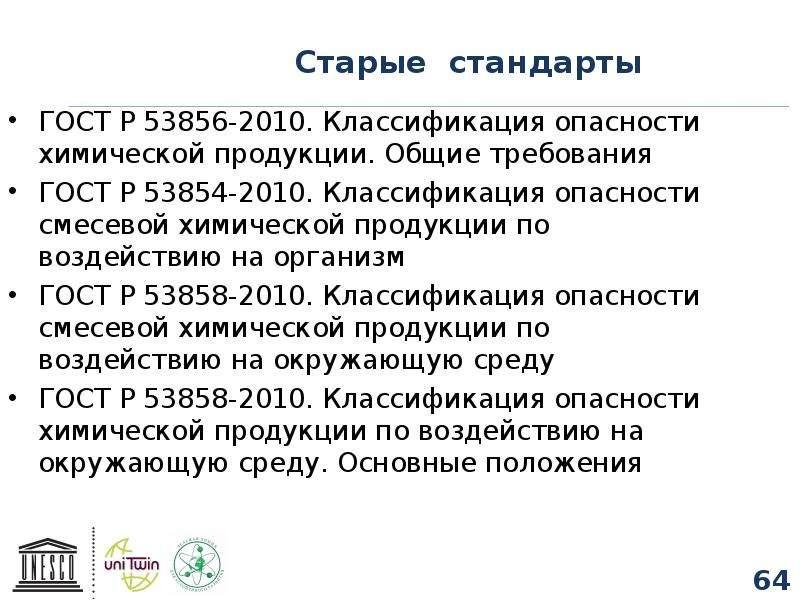 Старые стандарты ГОСТ Р 53856-2010. Классификация опасности химической продукции. Общие требования Г
