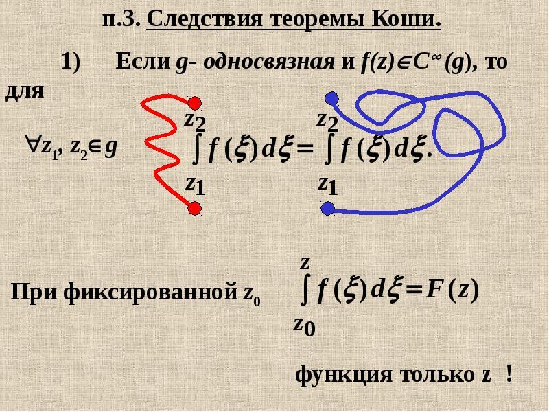 п. 3. Следствия теоремы Коши.
