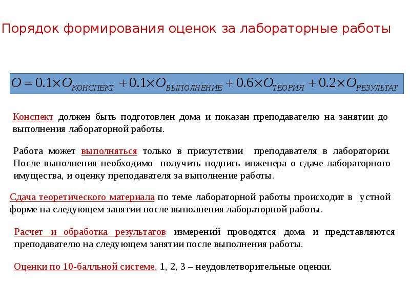 Порядок формирования оценок за лабораторные работы