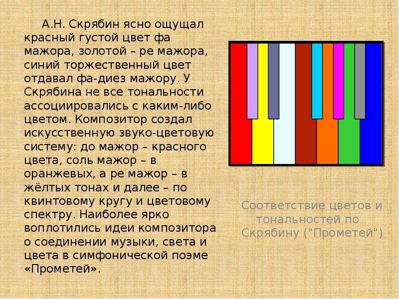 А. Н. Скрябин ясно ощущал красный густой цвет фа мажора, золотой – ре мажора, синий торжественный цв