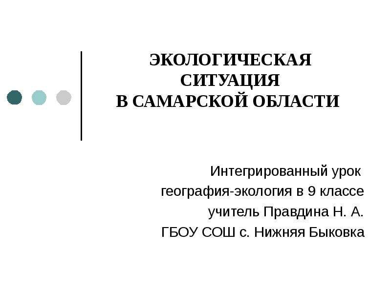 Презентация Экологическая ситуация в Самарской области