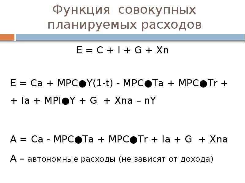 Функция совокупных планируемых расходов E = C + I + G + Xn E = Са + МPC●Y(1-t) - MPC●Ta + MPC●Tr + +