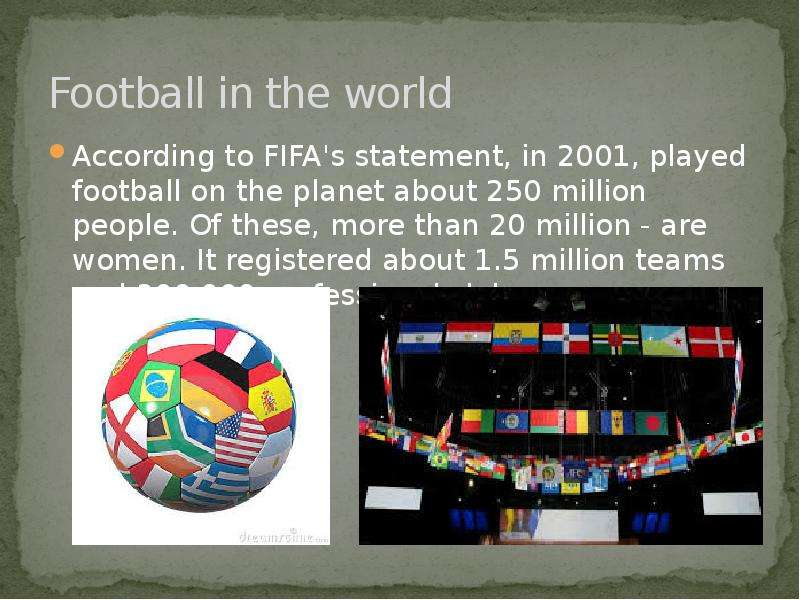 Football in the world According to FIFA's statement, in 2001, played football on the planet abo