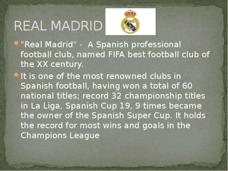 "REAL MADRID ""Real Madrid"" - A Spanish professional football club, named FIFA best football"