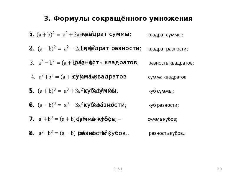 стихи формулы сокращенного умножения прозе сможете