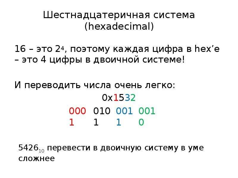 Шестнадцатеричная система (hexadecimal) 16 – это 24, поэтому каждая цифра в hex'е – это 4 цифры в дв
