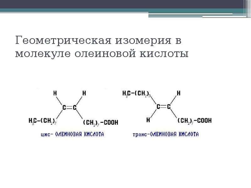 Геометрическая изомерия в молекуле олеиновой кислоты
