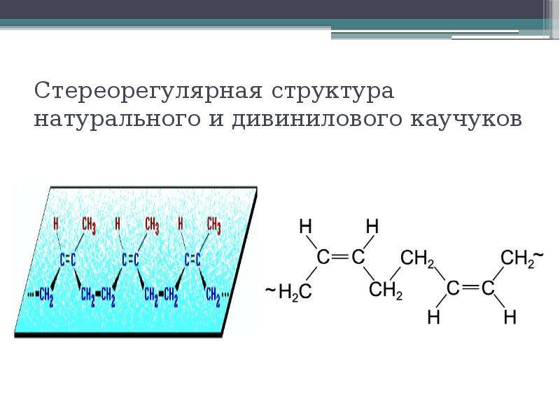 Стереорегулярная структура натурального и дивинилового каучуков