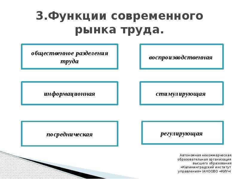 3. Функции современного рынка труда.
