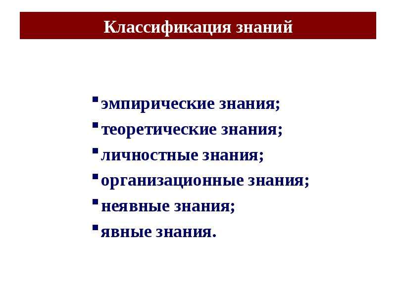 Классификация знаний эмпирические знания; теоретические знания; личностные знания; организационные з