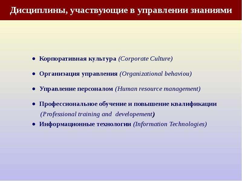 Дисциплины, участвующие в управлении знаниями ● Корпоративная культура (Corporate Culture) ● Организ