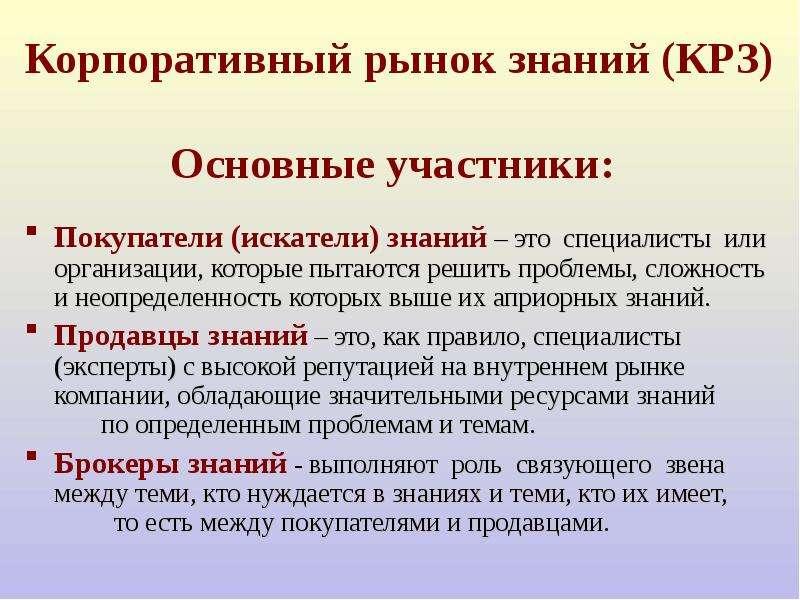 Корпоративный рынок знаний (КРЗ) Основные участники: Покупатели (искатели) знаний – это специалисты