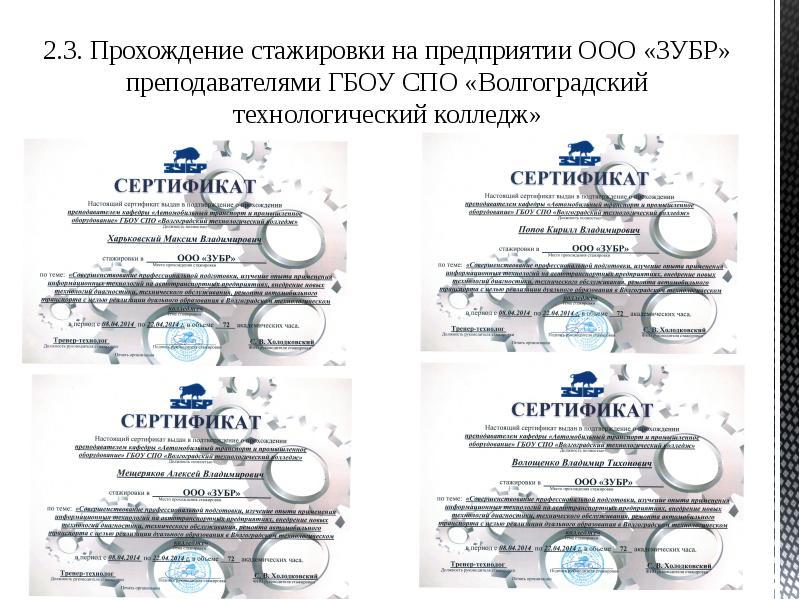 Подготовка рабочих кадров сферы сервиса автомобильного транспорта в Волгоградском технологическом колледже, слайд 16