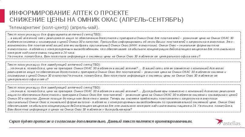 Информирование аптек о проекте снижение цены на омник окас (апрель-сентябрь)