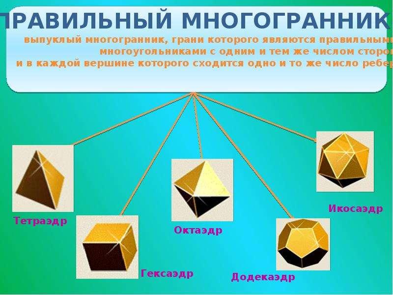 Правильные многогранники, или тела Платона, рис. 2