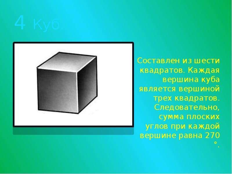 4 Куб. Составлен из шести квадратов. Каждая вершина куба является вершиной трех квадратов. Следовате