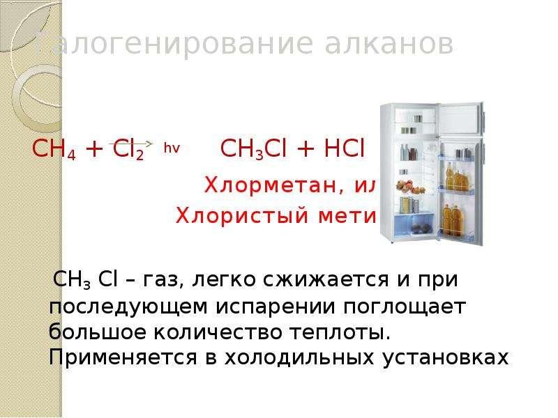 Галогенирование алканов СН4 + Cl2 hv CH3Cl + HCl Хлорметан, или Хлористый метил СН3 Cl – газ, легко