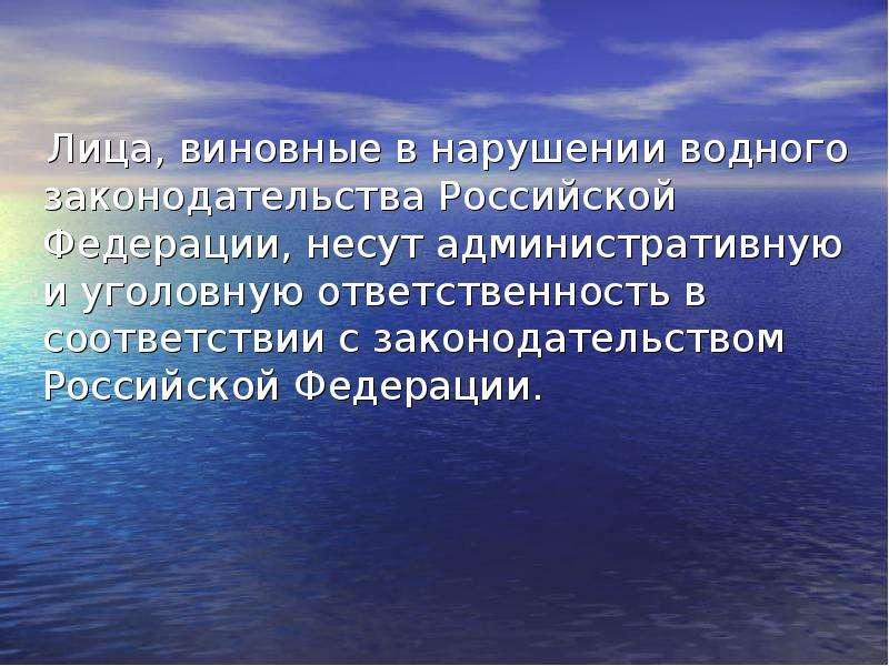 Лица, виновные в нарушении водного законодательства Российской Федерации, несут административную и у