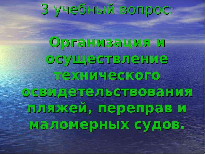 3 учебный вопрос: Организация и осуществление технического освидетельствования пляжей, переправ и ма