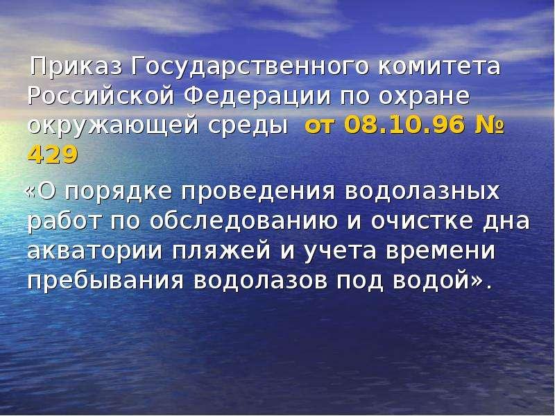 Приказ Государственного комитета Российской Федерации по охране окружающей среды от 08. 10. 96 № 429