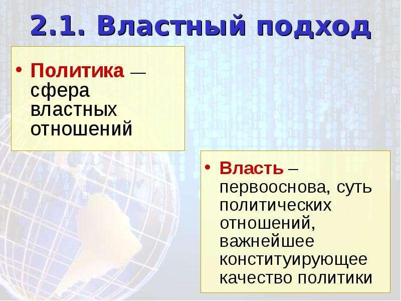 2. 1. Властный подход Политика — сфера властных отношений