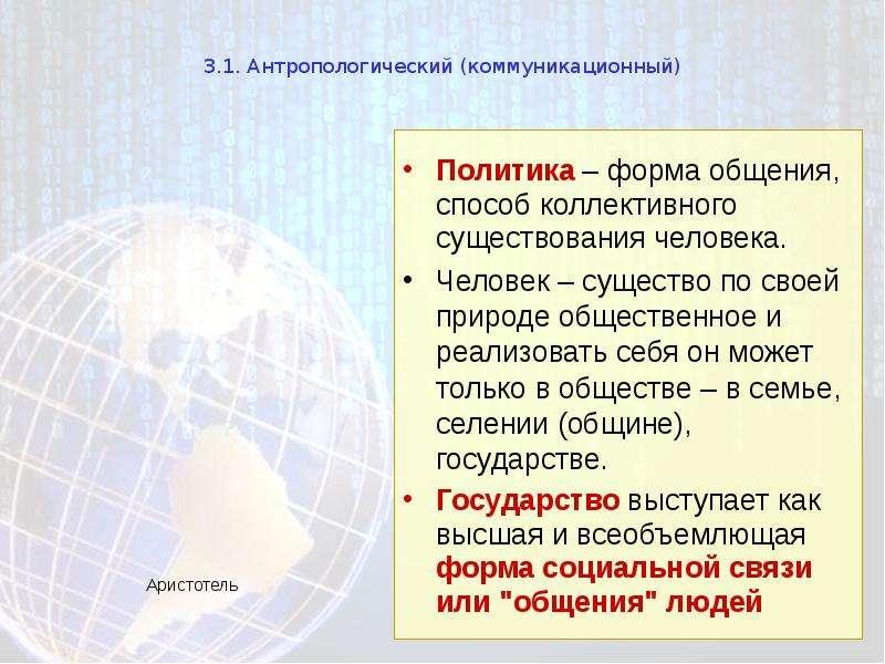 3. 1. Антропологический (коммуникационный) Политика – форма общения, способ коллективного существова