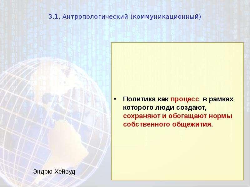 3. 1. Антропологический (коммуникационный) Политика как процесс, в рамках которого люди создают, сох