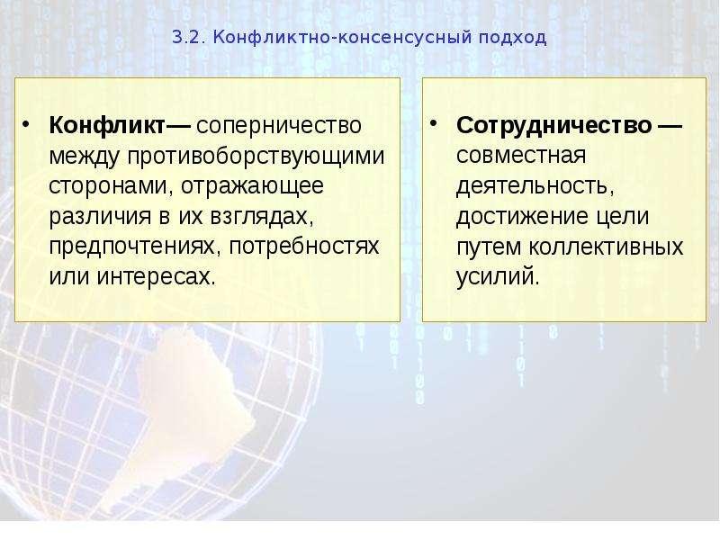 3. 2. Конфликтно-консенсусный подход Сотрудничество — совместная деятельность, достижение цели путем