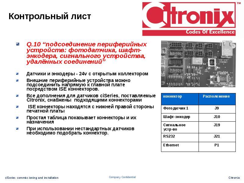 """Контрольный лист Q. 10 """"подсоединение периферийных устройств: фотодатчика, шафт-энкодера, сигнальног"""