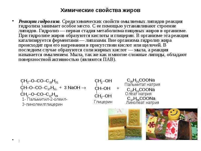 Химические свойства жиров Реакции гидролиза. Среди химических свойств омыляемых липидов реакция гидр