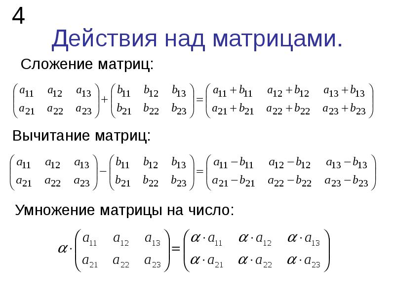 Действия над матрицами. Сложение матриц:
