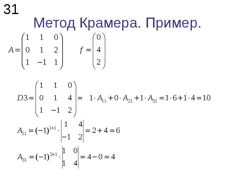 Метод Крамера. Пример.