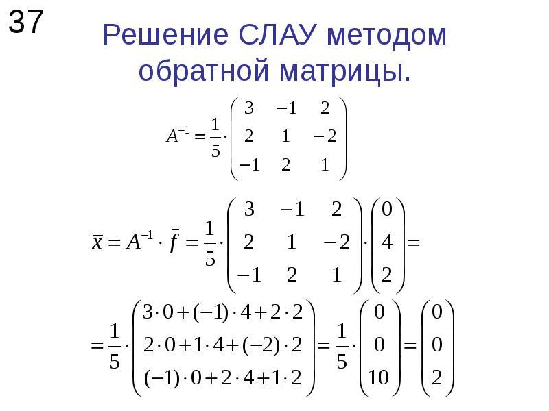Решение СЛАУ методом обратной матрицы.