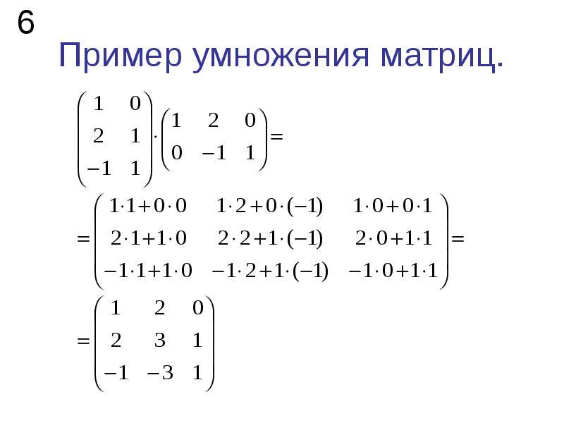 Пример умножения матриц.