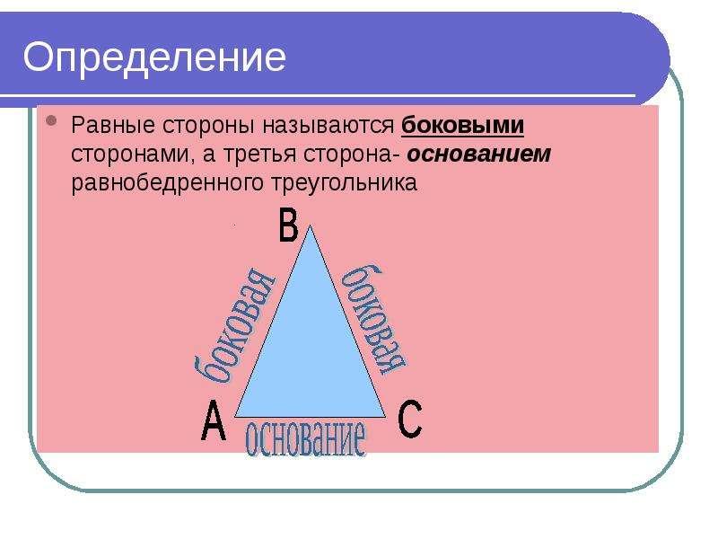 Определение Равные стороны называются боковыми сторонами, а третья сторона- основанием равнобедренно