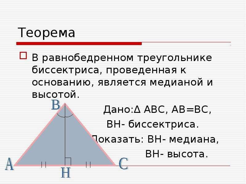 Теорема В равнобедренном треугольнике биссектриса, проведенная к основанию, является медианой и высо