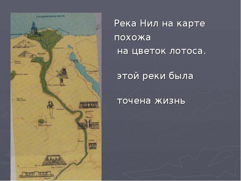 Река Нил на карте похожа на цветок лотоса. Вдоль этой реки была сосредо- точена жизнь египтян.