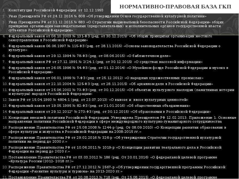 Нормативно-правовая база ГКП Конституция Российской Федерации от 12. 12. 1993 Указ Президента РФ от