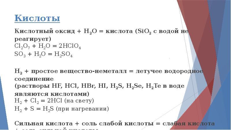 Кислоты Кислотный оксид + H2O = кислота (SiO2 с водой не реагирует) Cl2O7 + H2O = 2HClO4 SO3 + H2O =
