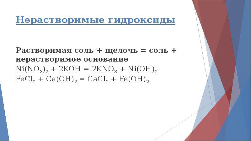 Нерастворимые гидроксиды Растворимая соль + щелочь = соль + нерастворимое основание Ni(NO3)2 + 2KOH