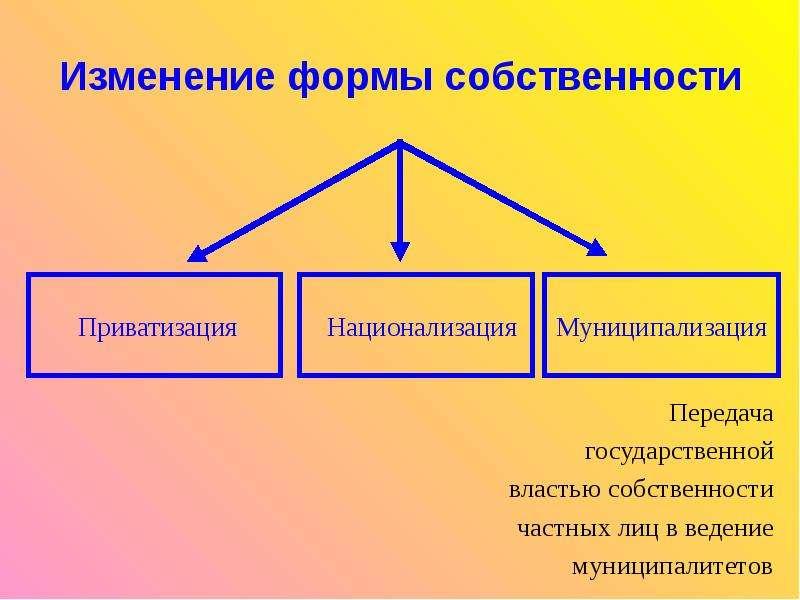 Изменение формы собственности Передача государственной властью собственности частных лиц в ведение м