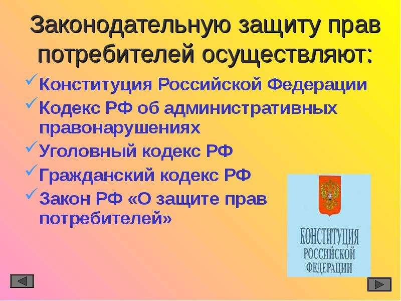 Законодательную защиту прав потребителей осуществляют: Конституция Российской Федерации Кодекс РФ об