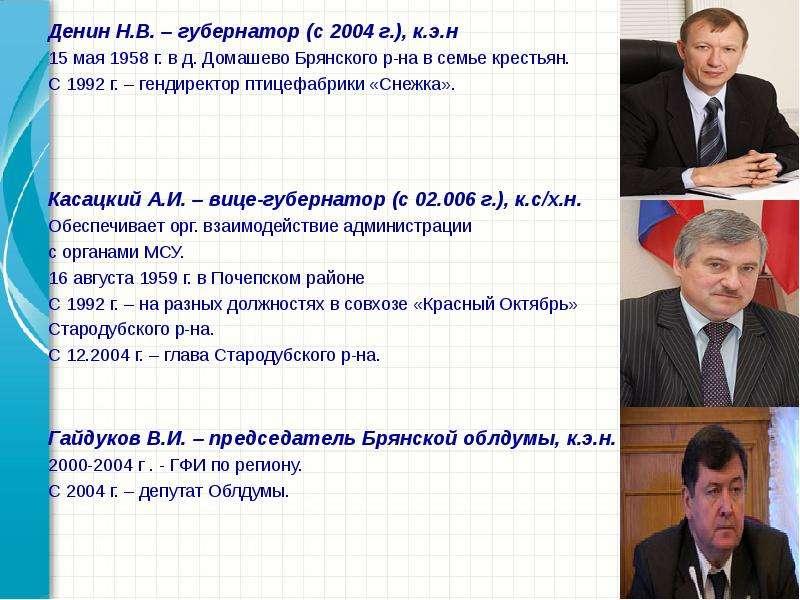 Денин Н. В. – губернатор (с 2004 г. ), к. э. н Денин Н. В. – губернатор (с 2004 г. ), к. э. н 15 мая