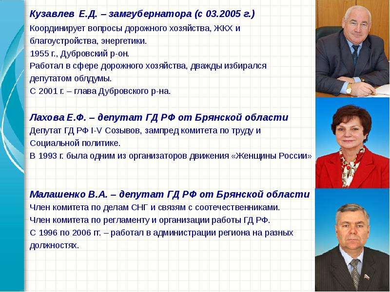 Кузавлев Е. Д. – замгубернатора (с 03. 2005 г. ) Кузавлев Е. Д. – замгубернатора (с 03. 2005 г. ) Ко