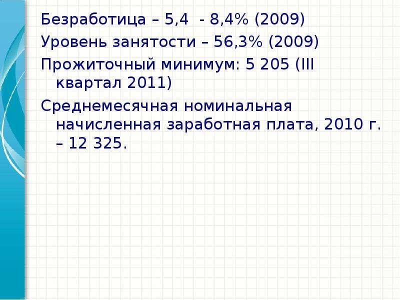 Безработица – 5,4 - 8,4% (2009) Безработица – 5,4 - 8,4% (2009) Уровень занятости – 56,3% (2009) Про